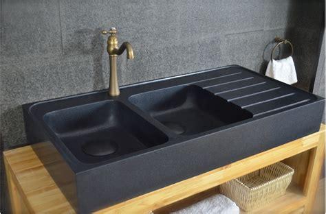 evier en cuisine 120x60 201 vier granit noir de cuisine en 2 cuves