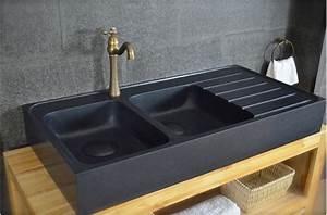 Evier Cuisine En Pierre : 120x60 vier granit noir de cuisine en pierre 2 cuves ~ Premium-room.com Idées de Décoration
