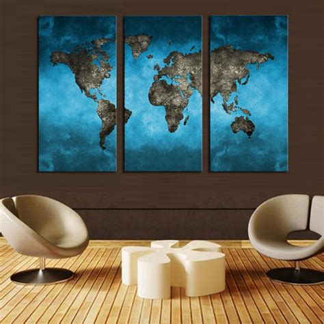 Unframed 3 Panels Abstract Blue Map Landscape Hd Picture