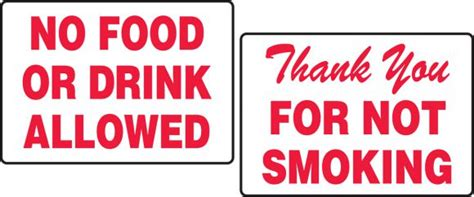 No Food Drink Thank You For Not Smoking Tabletop Signs Pat232