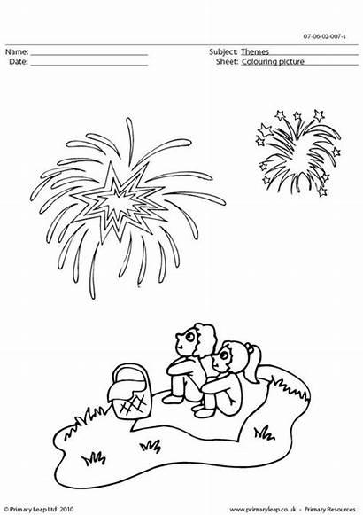 Fireworks Coloring Worksheet Worksheets Colouring Night Bonfire
