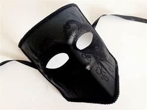 Black Masquerade Mens Mask Mens Bauta Mask Swan Deco Mens