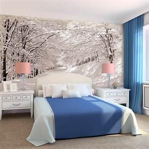 50 photos avec des idees pour poser du papier peint intisse for Papier peint chambre a coucher