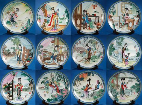 Set Of 12 Beauties Of The Red Mansion Imperial Jingdezhen Porcelain Plates China  What's It Worth