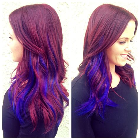 Violet Red Hair Cobalt Blue And Purple Extensions Done