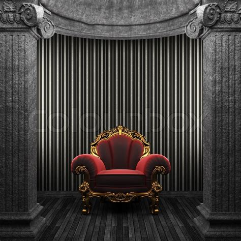 Stone Columns, Chair And Wallpaper Made In 3d Stock
