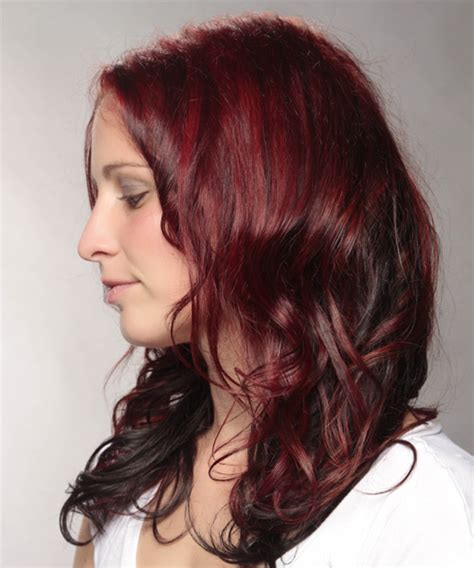 two tone long hairstyles casual long wavy hairstyle red and dark brunette two