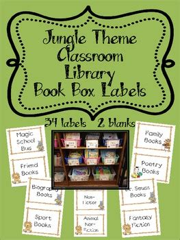 jungle themed classroom library book box labels  carrie