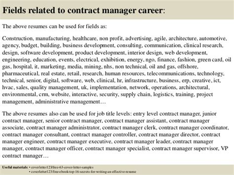 top 5 contract manager cover letter sles