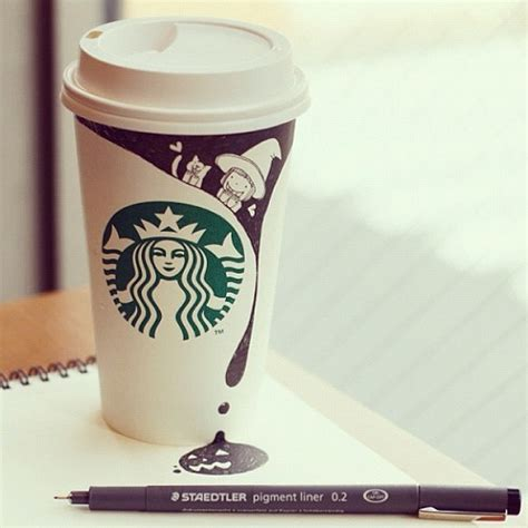 whimsical starbucks coffee cup doodles designtaxicom