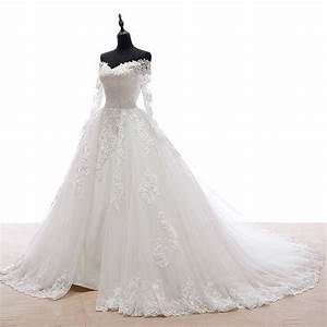 Church off the shoulder natural chapel train wedding dress for Chapel train wedding dress