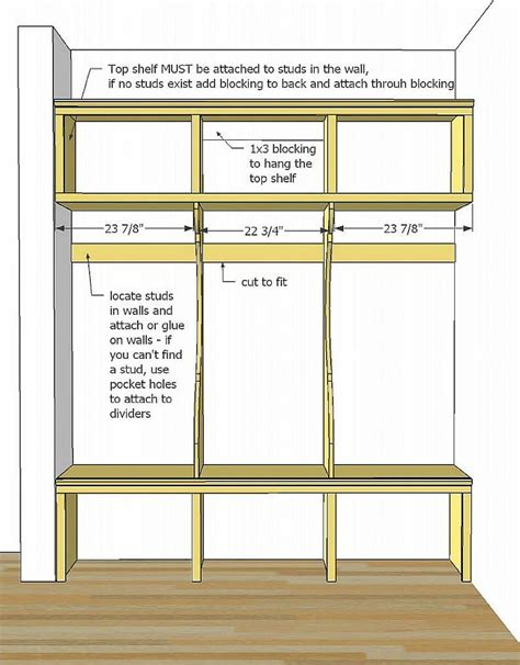 easy  cheap mudroom lockers  bench plans