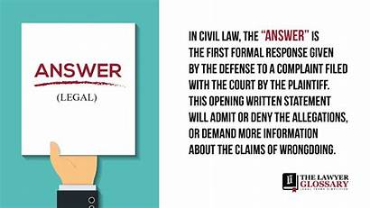 Answer Definition Legal Terms Complaint Related Lawyer