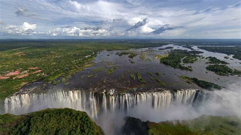 lake waterfall trees landscape zambezi river victoria