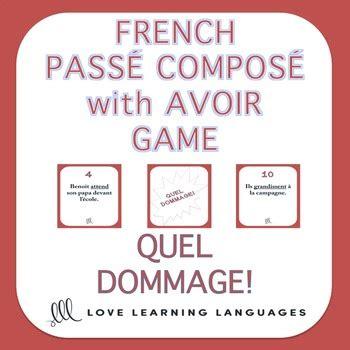 french passe compose game regular verbs  avoir