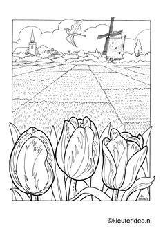 Coloring Alkmaar, kleuteridee.nl, Alkmaar coloring.Holland