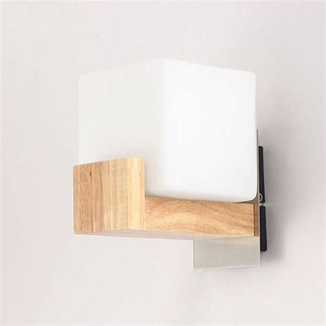 contemporary wooden and glass cube wall light buy