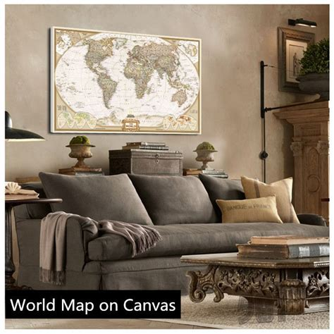Vintage Map Living Room by Buy Sale Vintage World Map Painting Canvas