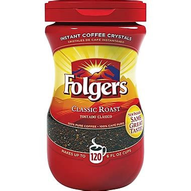 Folgers instant coffee crystals classic roast. Folgers® Classic Roast Instant Coffee, Regular, 8 oz. Jar | Staples®