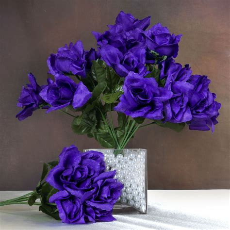 84 purple silk open roses wedding discounted flowers