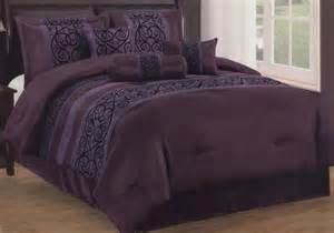 7 pieces king size contemporary floral comforter set purple black bed in a bag ebay