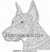 Doberman Dog Pinscher Zentangle Clip Stylized Coloring Fotosearch Drawing Adult Sketch Freehand Antistress sketch template