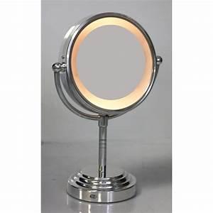 miroir lumineux sur pied chrome achat vente miroir With miroir salle de bain sur pied