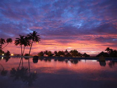 bora bora beach french polynesia sunset red sky sky clouds