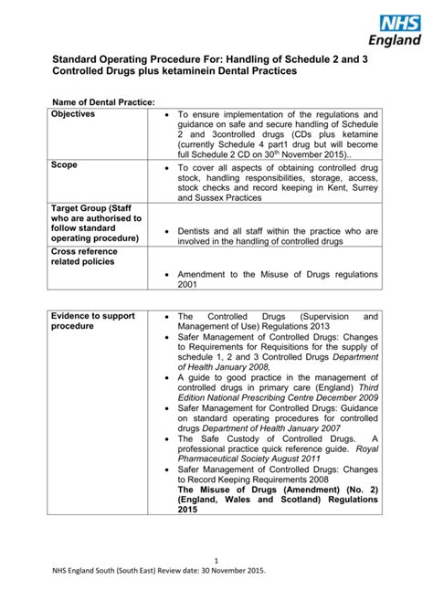Standard Operating Procedure for Schedule 2 & 3 Drugs