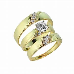 3 piece gold cz wedding ring set engagement ring With 3 ring set wedding rings