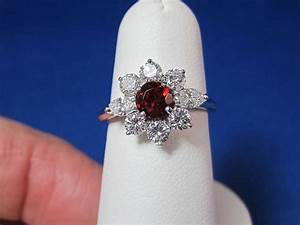 garnet diamond gold estate ring 14k from mayfairjewel on With garnet wedding ring meaning