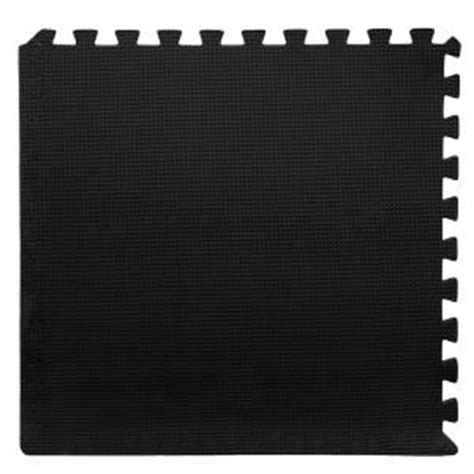 home depot flooring foam stalwart black 24 in x 24 in x 0 375 in interlocking eva foam floor mat 6 pack m550032
