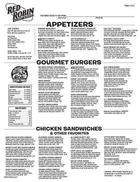 Red Robin Gourmet Burgers Menu - Urbanspoon/Zomato