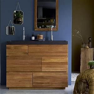 meuble en chne et vasques pierre de lave karl duo vente With meuble salle de bain pierre