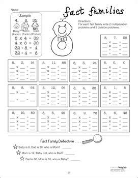 fact families multiplication division facts common
