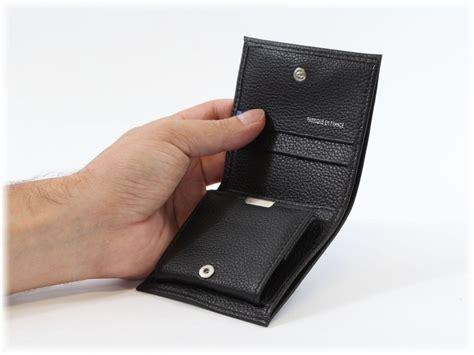 porte monnaie carre   volets en cuir noir pour homme