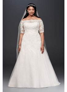 jewel 3 4 sleeve illusion plus size wedding dress david With 3 4 sleeve wedding dress plus size