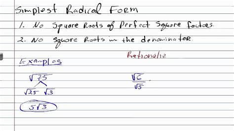 How To Do Simple Radical Form by Writing Expression In Simplest Radical Form Geometry How
