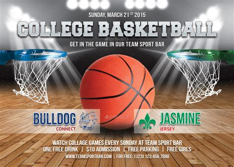 college basketball game flyer template   min