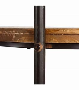 Etagere Metal Et Bois : tag re ronde sur roulettes desserte en m tal noir et bois ~ Teatrodelosmanantiales.com Idées de Décoration