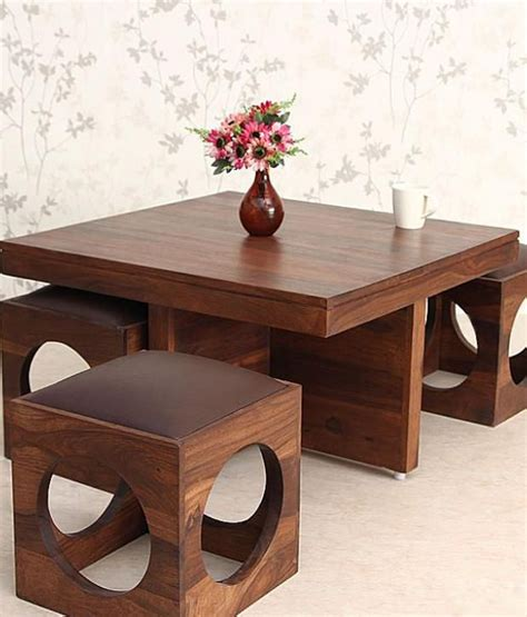 coffee table with stools underneath india ethnic india solid wood coffee table with 4 stools
