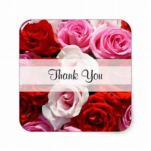 "Custom ""Thank You"" Roses Square Sticker 
