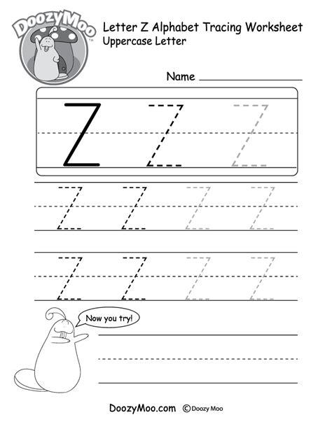 uppercase letter z tracing worksheet doozy moo