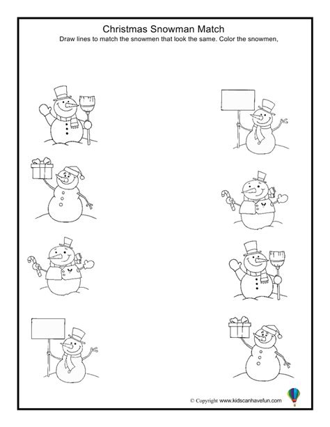 snowman match worksheet activities