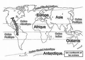 Planisphère Noir Et Blanc : continents et oc ans mitsouko au cp ~ Melissatoandfro.com Idées de Décoration