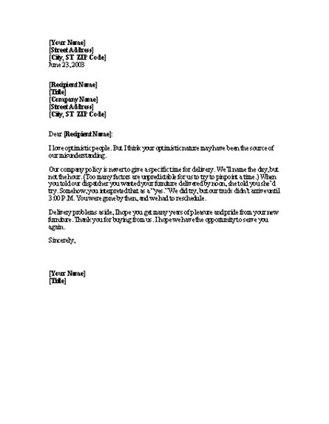 sample business letter explanation sample business letter