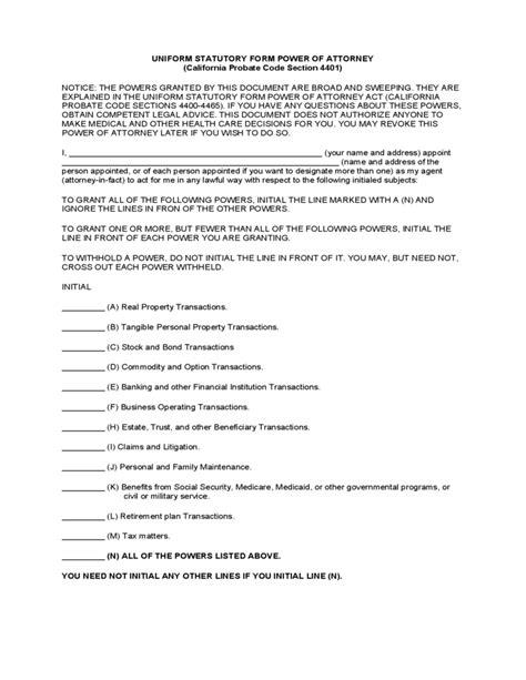 uniform statutory power  attorney form california