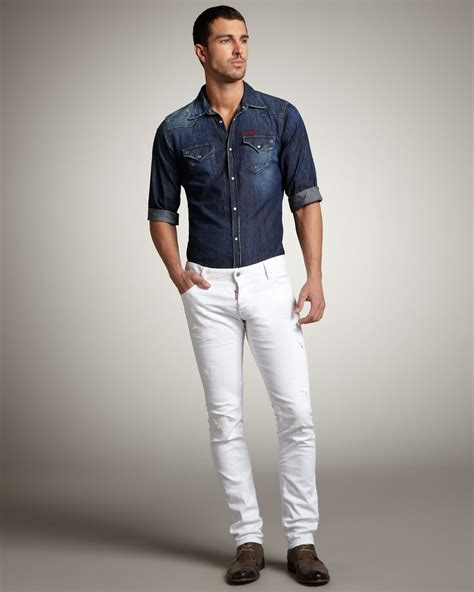 Lyst - Dsquared² Slim Distressed White Jeans in White for Men