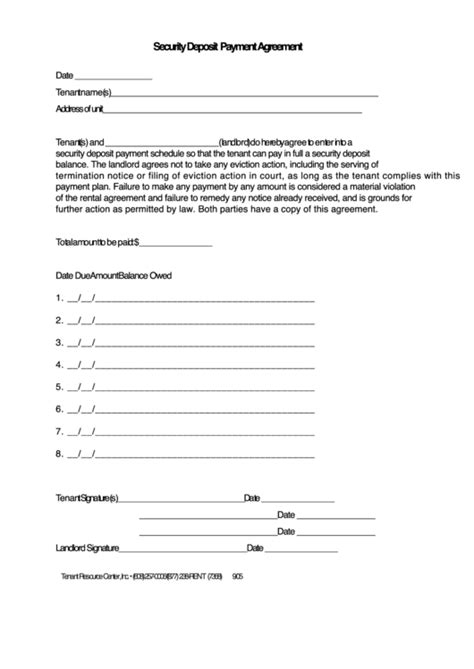 security deposit payment agreement template printable