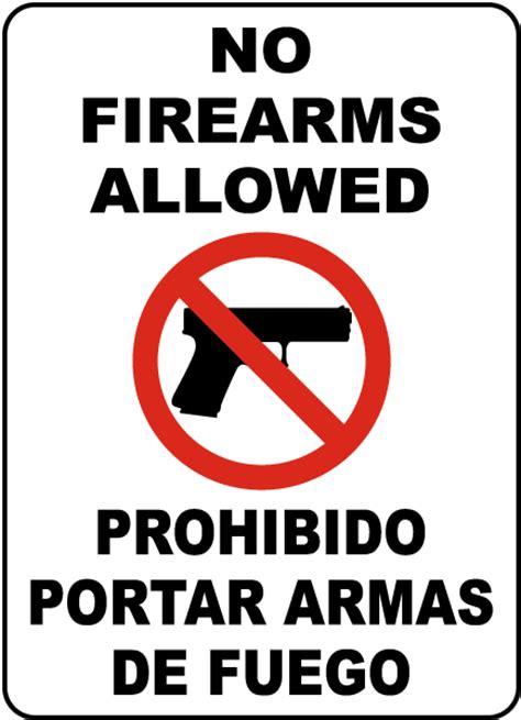 bilingual  firearms allowed sign fbi  safetysigncom